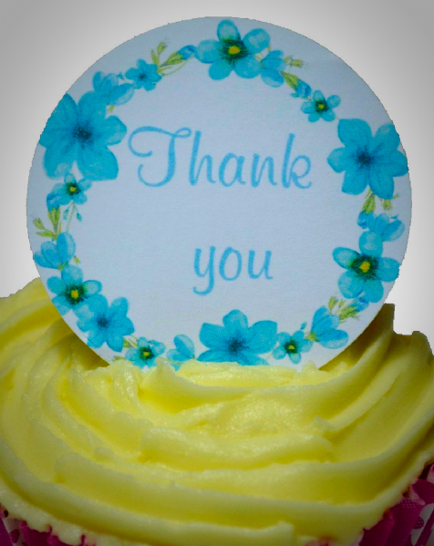 Edible cake toppers decoration - Thank you flowers